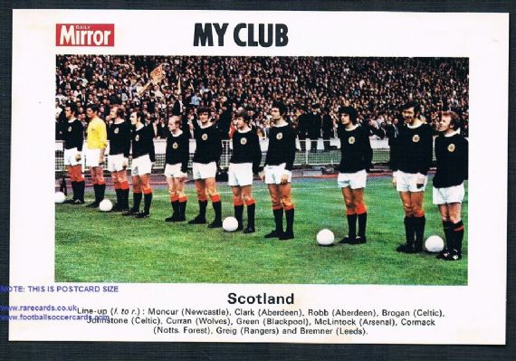 1970 My Club Daily Mirror postcard Scotland Leeds Aberdeen Celtic Wolves Rangers  Blackpool